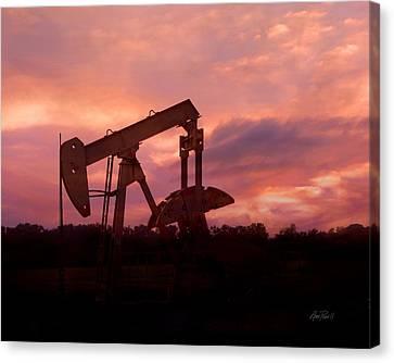 Oil Pump Jack Sunset Canvas Print