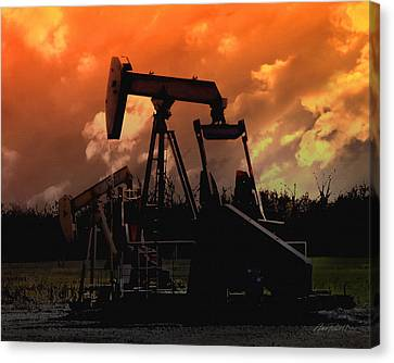 Oil Pump Jack With Colorful Sky Canvas Print