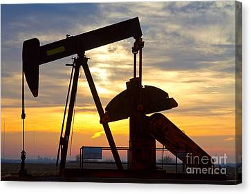 Oil Pump Sunrise Canvas Print