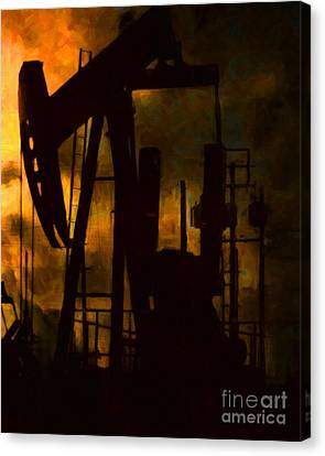 Oil Pumps - Vertical Canvas Print by Wingsdomain Art and Photography