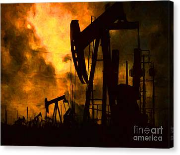 Oil Pumps Canvas Print by Wingsdomain Art and Photography
