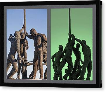Oil Rig Workers Diptych Canvas Print by Steve Ohlsen