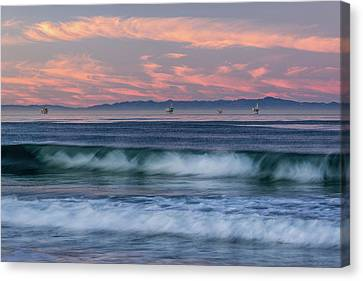 Oil Rigs And Waves In The Pacific Canvas Print