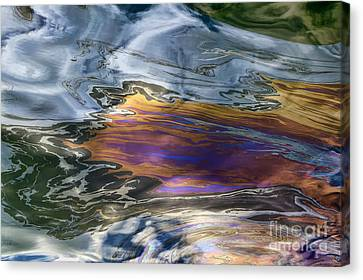 Oil Slick Canvas Print - Oil Slick Abstract by Sheldon Kralstein