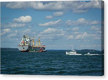 Canvas Print featuring the photograph Oil Tanker And Lobster Boat by Jane Luxton