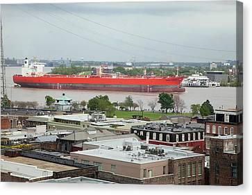 Oil Tanker On The Mississippi River Canvas Print by Jim West