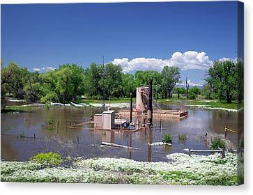 Oil Well Flooded By River Canvas Print