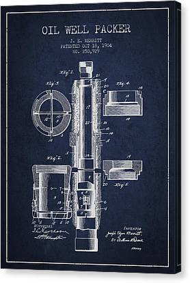 Industry Canvas Print - Oil Well Packer Patent From 1904 - Navy Blue by Aged Pixel