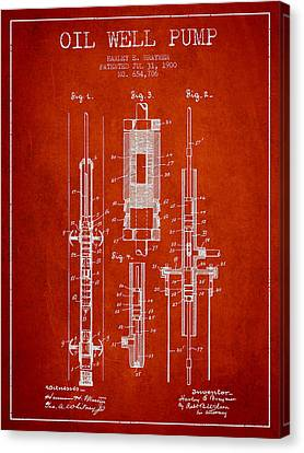 Oil Well Pump Patent From 1900 - Red Canvas Print by Aged Pixel