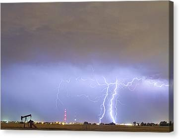 Oil Well Pumpjack Thunderstorm Canvas Print by James BO  Insogna