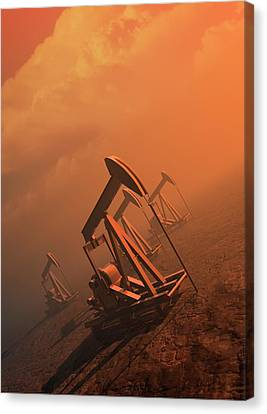 Oil Well Pumps Canvas Print by Victor Habbick Visions
