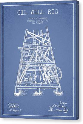Oil Well Rig Patent From 1893 - Light Blue Canvas Print