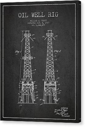 Oil Well Rig Patent From 1927 - Dark Canvas Print by Aged Pixel