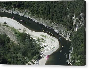 oing down Ardeche River on canoe. Ardeche. France Canvas Print