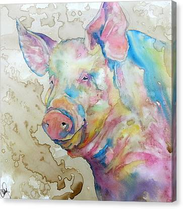 Canvas Print featuring the painting Oink by Christy  Freeman