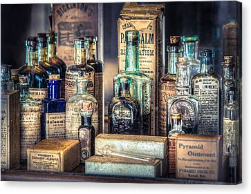 Ointments Tonics And Potions - A 19th Century Apothecary Canvas Print by Gary Heller