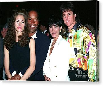 O.j. Simpson - Paula Barbieri - Kris And Bruce Jenner Party In Palm Springs Canvas Print by Gary Kaplan