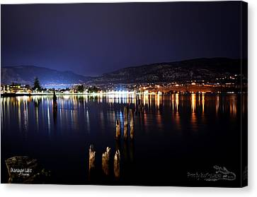 Okanagan Lake At Night Canvas Print by Guy Hoffman