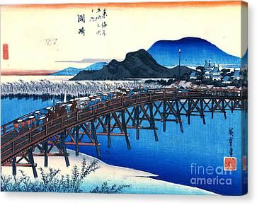 Okazaki Station Tokaido Road 1833 Canvas Print
