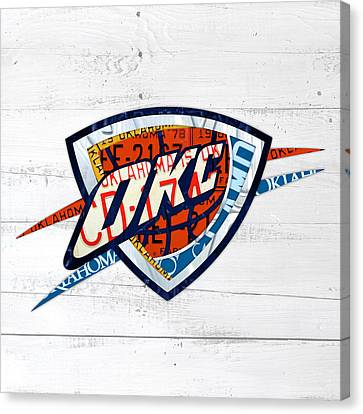 Okc Thunder Basketball Team Retro Logo Vintage Recycled Oklahoma License Plate Art Canvas Print by Design Turnpike