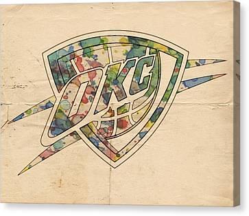 Okc Thunder Logo Art Canvas Print