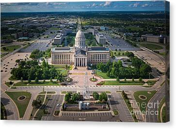Ballpark Canvas Print - Oklahoma City State Capitol Building A by Cooper Ross