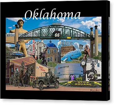 Oklahoma Collage With Words Canvas Print by Roberta Peake