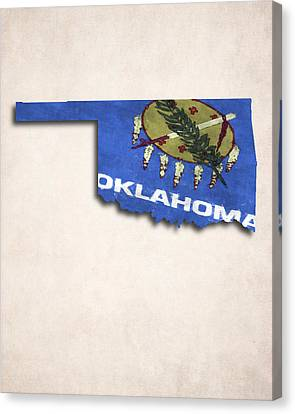 Patriotic Canvas Print - Oklahoma Map Art With Flag Design by World Art Prints And Designs