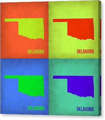 Oklahoma Pop Art Map 1 Canvas Print by Naxart Studio