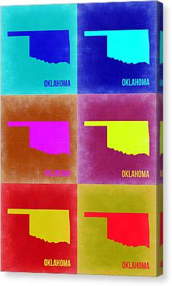 Oklahoma Pop Art Map 2 Canvas Print by Naxart Studio
