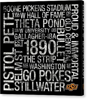 Oklahoma State College Colors Subway Art Canvas Print