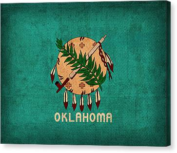 Oklahoma State Flag Art On Worn Canvas Canvas Print by Design Turnpike