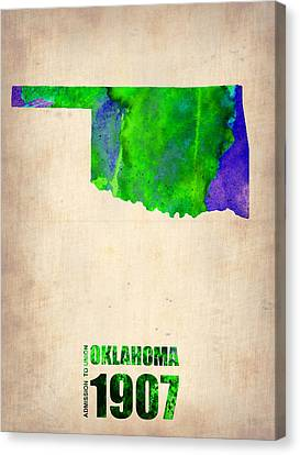 Oklahoma Watercolor Map Canvas Print by Naxart Studio