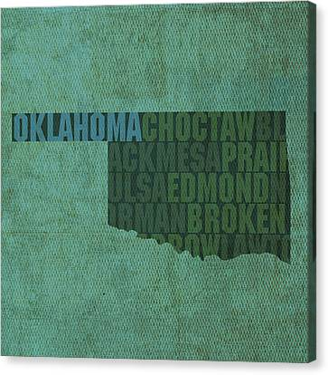 Oklahoma Word Art State Map On Canvas Canvas Print by Design Turnpike