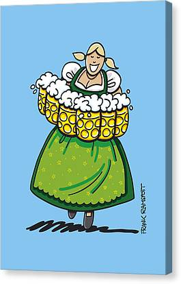 Vector Canvas Print - Oktoberfest Beer Waitress Dirndl by Frank Ramspott