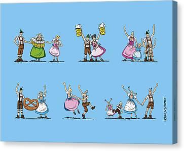 Beer Canvas Print - Oktoberfest Munich Cartoon People by Frank Ramspott