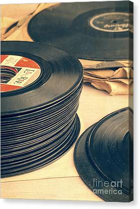Stacked Canvas Print - Old 45s by Edward Fielding