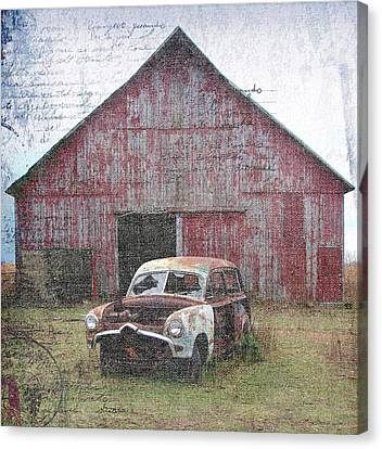 Old Abandoned Car And Barn Canvas Print by Cassie Peters