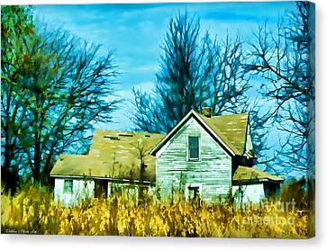 Old Abandoned House Digital Paint Canvas Print by Debbie Portwood