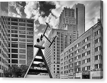 Old And New Juxtaposed - Downtown Houston Texas Canvas Print by Silvio Ligutti