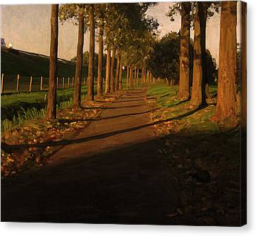 Canvas Print featuring the painting Old And New Road In Tilburg by Nop Briex