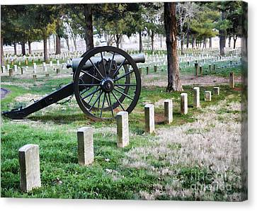 Old Artillery In Union Grave Yard Canvas Print by Donna Greene