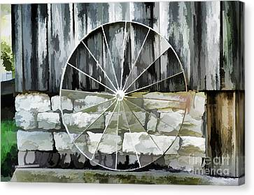 Wooden Wagons Canvas Print - Old Barn And Ford Wheel by Luther Fine Art
