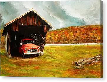 Old Barn And Red Truck Canvas Print by Lourry Legarde