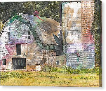 Old Barn And Silos Digital Paint Canvas Print by Debbie Portwood