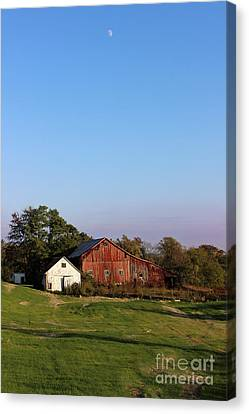 Old Barn At Sunset Canvas Print by Karen Adams