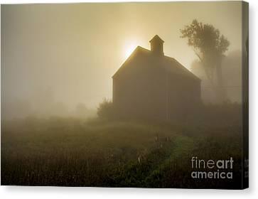 Old Barn Foggy Morning Canvas Print by Edward Fielding