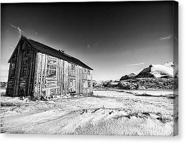 Old Barn Fredvang Canvas Print by Janet Burdon
