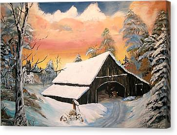 Canvas Print featuring the painting Old Barn Guardian by Sharon Duguay