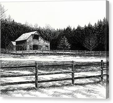 Old Barn Drawing Canvas Print - Old Barn In Franklin Tennessee by Janet King